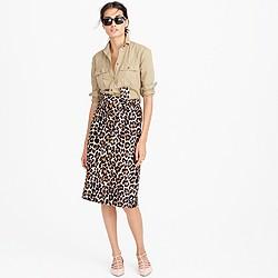 Petite tie-waist skirt in leopard print