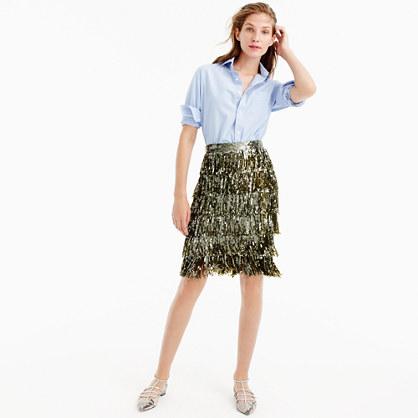 Collection sequin fringe skirt