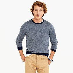 Merino wool crewneck sweater in bird's-eye stitch
