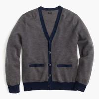 Merino wool cardigan sweater in bird's-eye stitch
