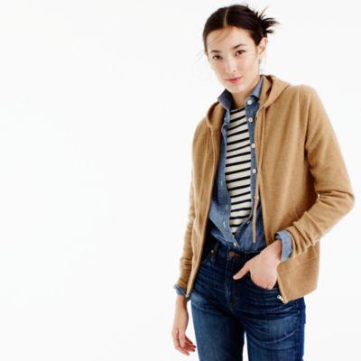 Italian cashmere zip-front hoodie