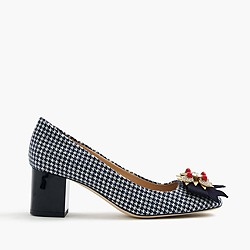 Collection jeweled heels in houndstooth