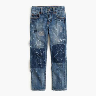 Boys' distressed well-worn wash jean in slim fit