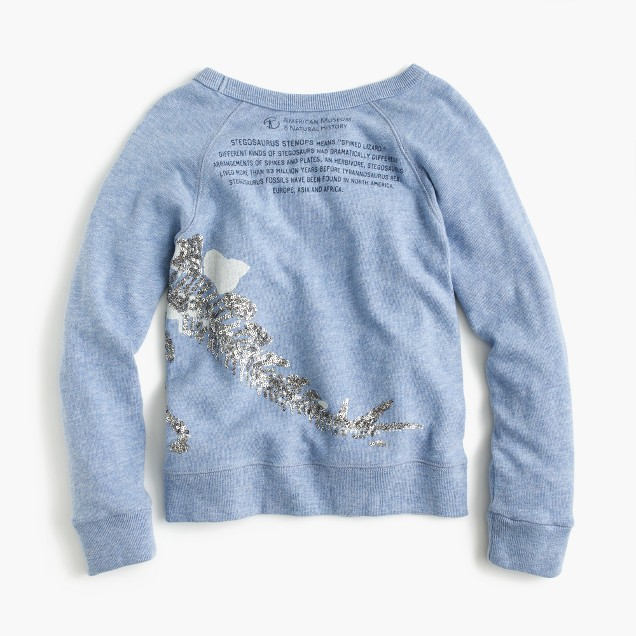 J.Crew for the American Museum of Natural History sequin stegosaurus T-shirt