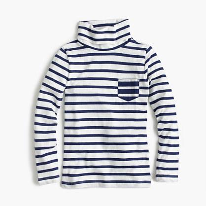Girls' striped tissue turtleneck T-shirt