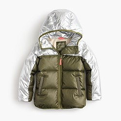 Girls' colorblock marshmallow puffer jacket in metallic