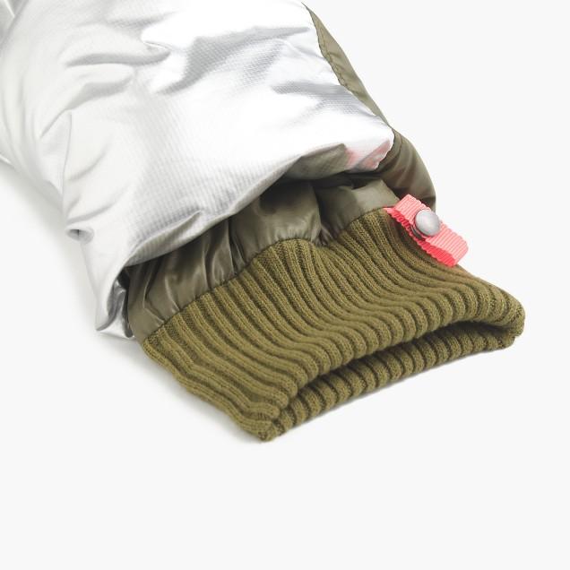 Girls' colorblock marshmallow puffer jacket in metallic