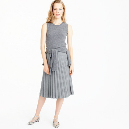 Pleated midi skirt in wool