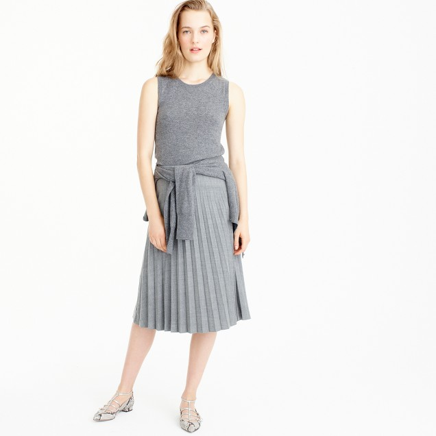 Pleated midi skirt in wool