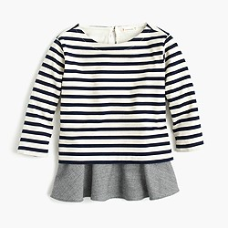 Girls' striped ruffle hem T-shirt