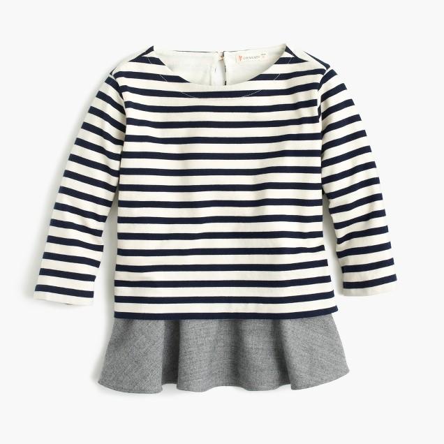 Girls' striped ruffle hem T-shirt