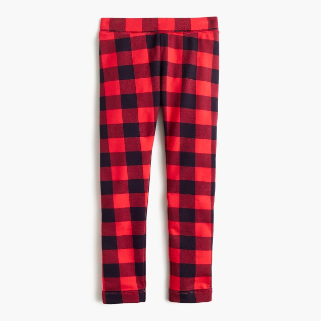 Girls' cozy everyday leggings in buffalo check