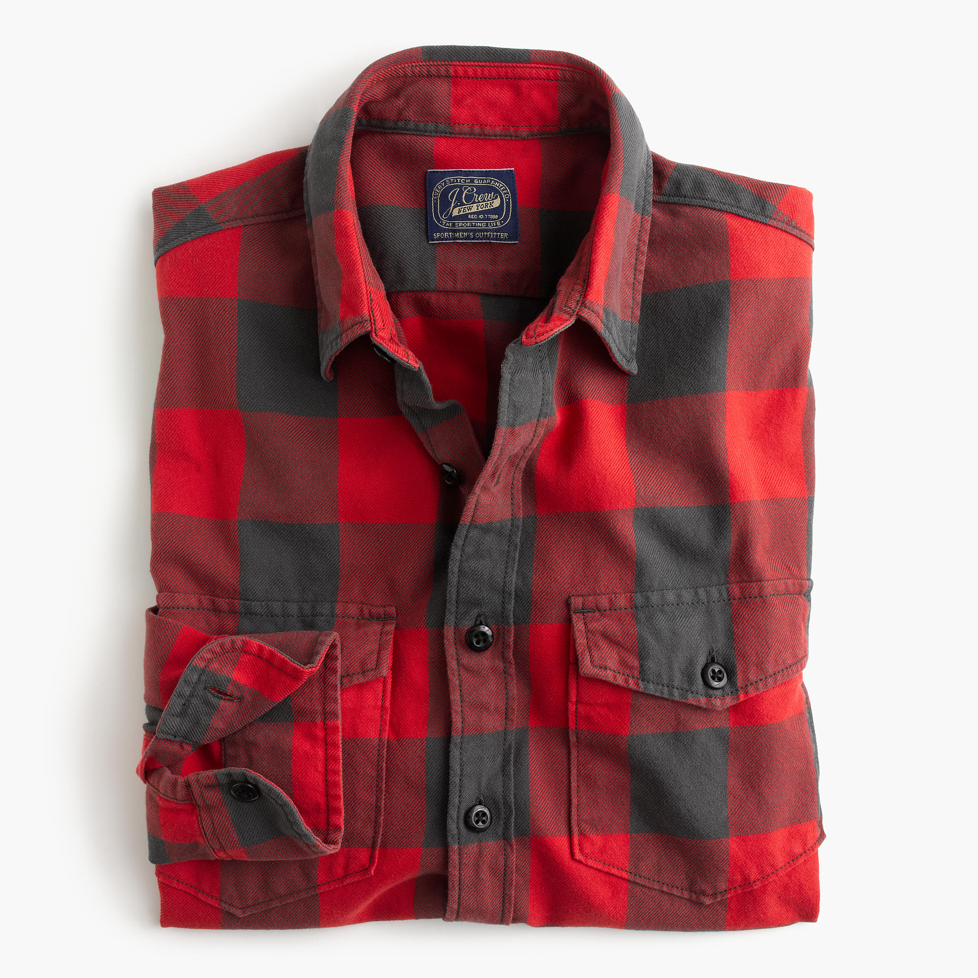 Midweight flannel shirt in red buffalo check men 39 s for Buffalo check flannel shirt jacket