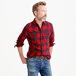 Slim midweight flannel shirt in red buffalo check