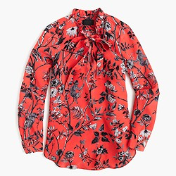 Collection ruffle tie-neck top in Ratti® sunset coral monkey print