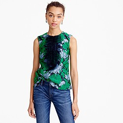 Collection tulle ruffle top in chrysanthemum jacquard