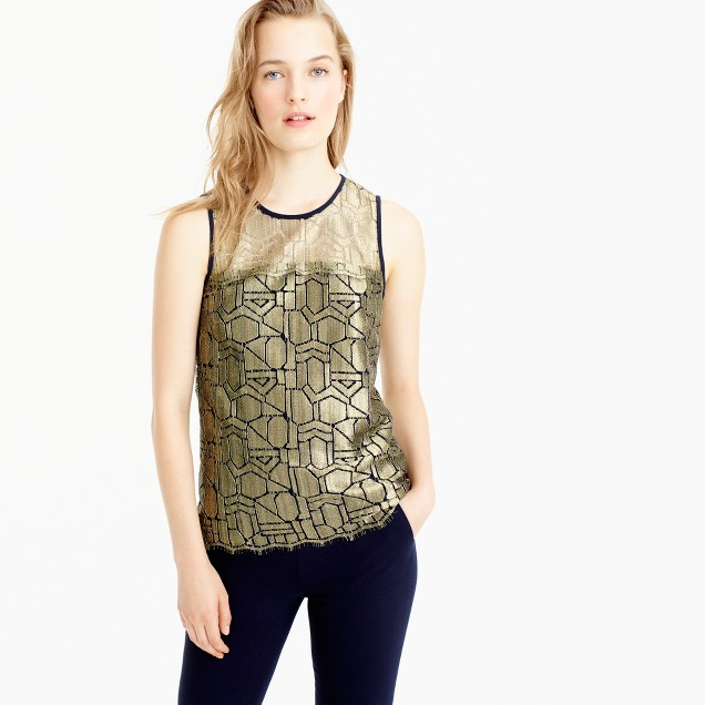 Collection deco shirt in metallic French lace