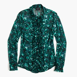 Collection ruffle-front shirt in Ratti® emerald floral