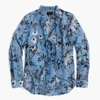 Collection ruffle tie-neck top in Ratti® mountain lake monkey print
