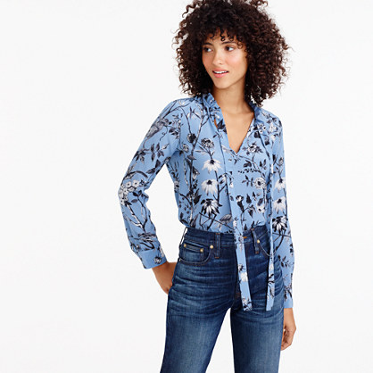 Collection ruffle tie-neck top in Ratti® mountain lake monkey print