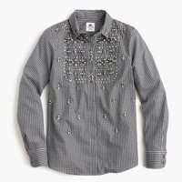 Collection Thomas Mason® for J. Crew embellished gingham button-up shirt