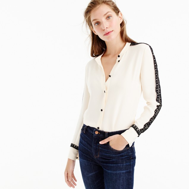 Collection silk top with French lace