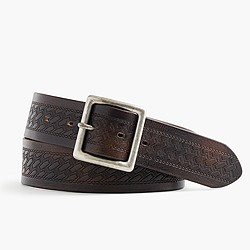 Wallace & Barnes debossed leather belt