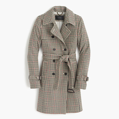 Icon trench coat in plaid Italian wool