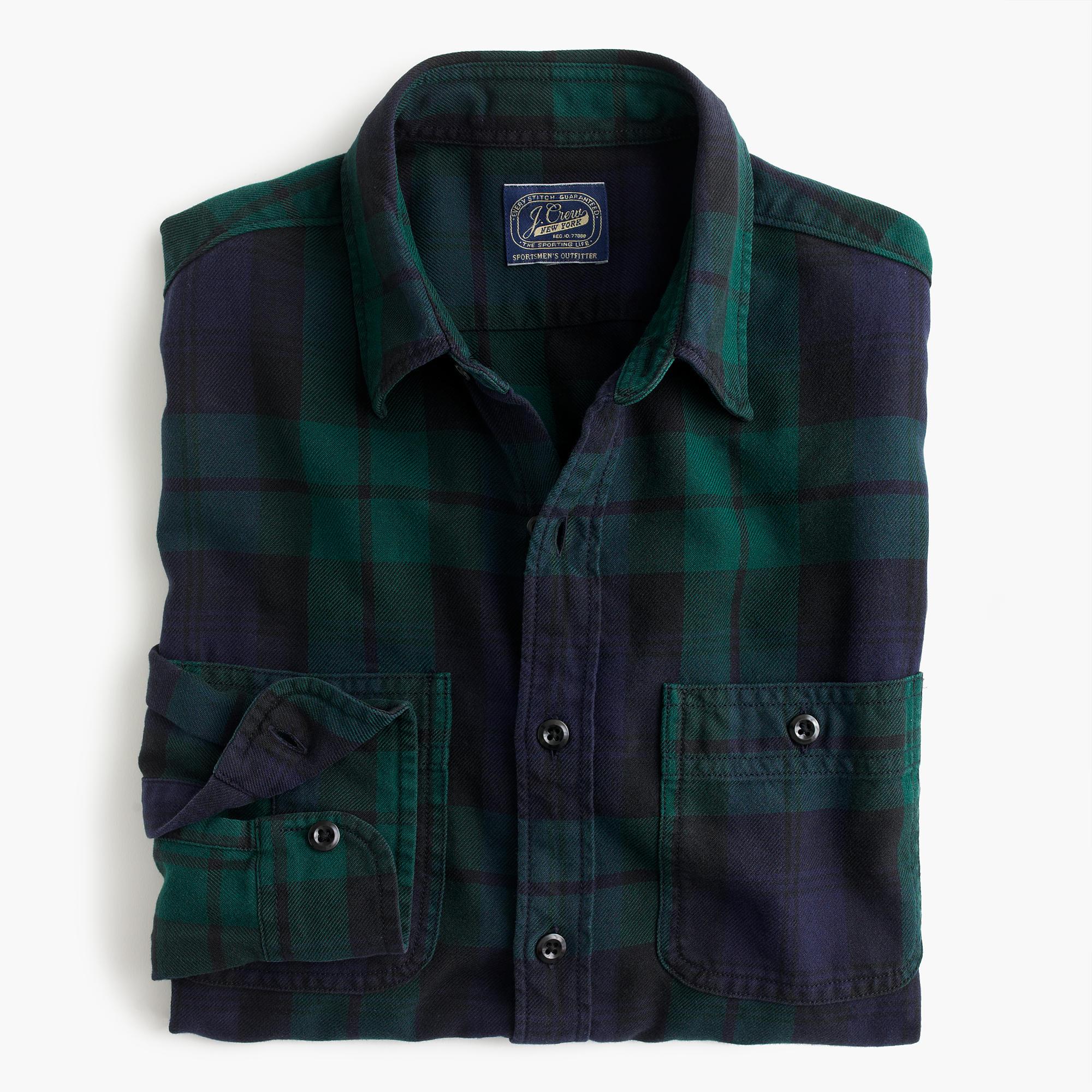 Slim midweight flannel shirt in black watch men 39 s shirts for Black watch flannel shirt