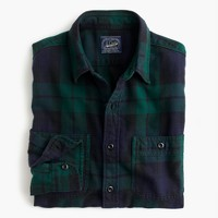 Slim midweight flannel shirt in Black Watch