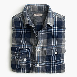 Wallace & Barnes flannel shirt in navy-and-grey plaid