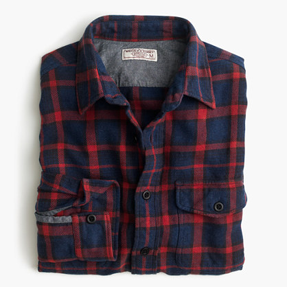 Wallace & Barnes flannel shirt in navy-and-red plaid