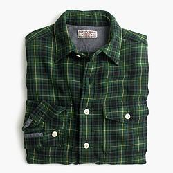 Wallace & Barnes flannel shirt in green plaid