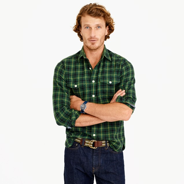 Wallace & Barnes flannel shirt in green plaid