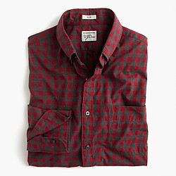 Secret Wash shirt in red gingham heather poplin