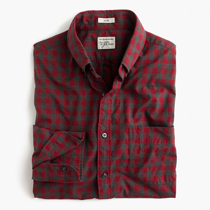 Slim Secret Wash shirt in red gingham heather poplin