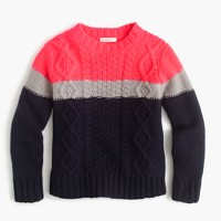 Girls' colorblock wool cable-knit sweater