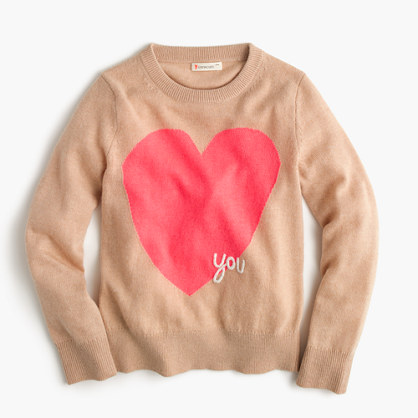 "Girls' wool ""heart you"" popover sweater"