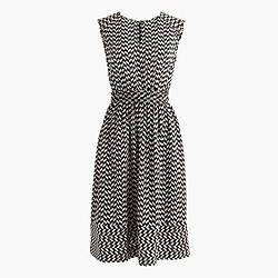 Cap-sleeve dress in silk geo print