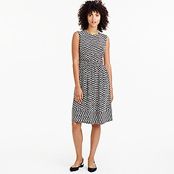 Petite cap-sleeve dress in silk geo print