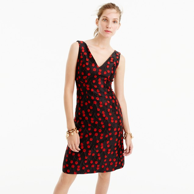 Collection jacquard sheath dress in cherry print