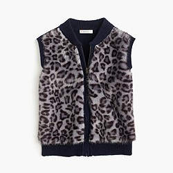 Girls' leopard faux-fur vest