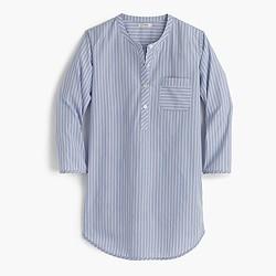 Collarless striped cotton nightshirt