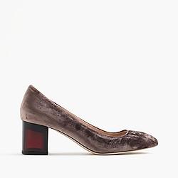 Lucite heels in velvet