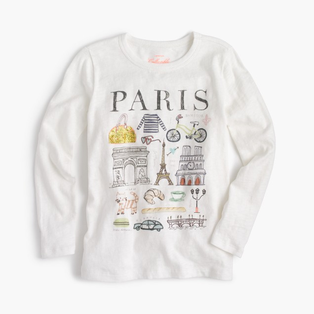 "Girls' ""Paris"" destination art T-shirt"