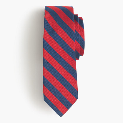 English silk repp tie in classic stripe