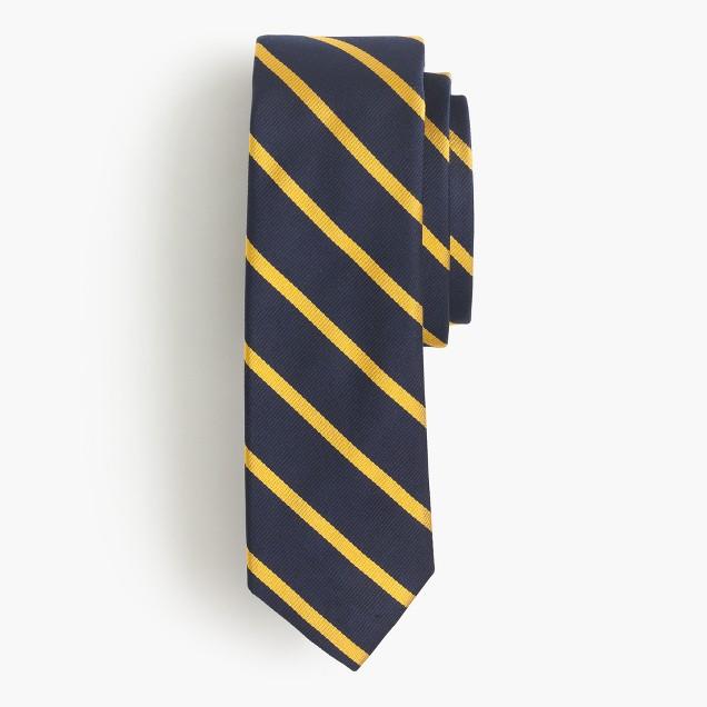 English silk repp tie in thin stripe