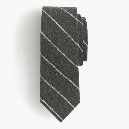 English silk tweed tie in multicolor stripe