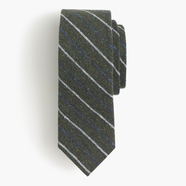 English silk tweed tie in multicolor stripe