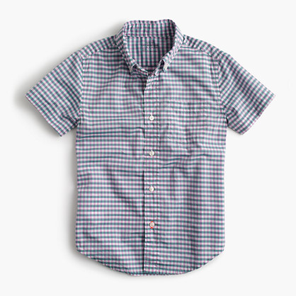 Kids' short-sleeve Secret Wash shirt in micro gingham